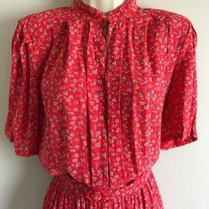 Vintage 70s/80s midi dress red floral belted 12